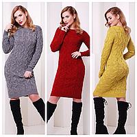 Стильное женское вязаное платье до колена
