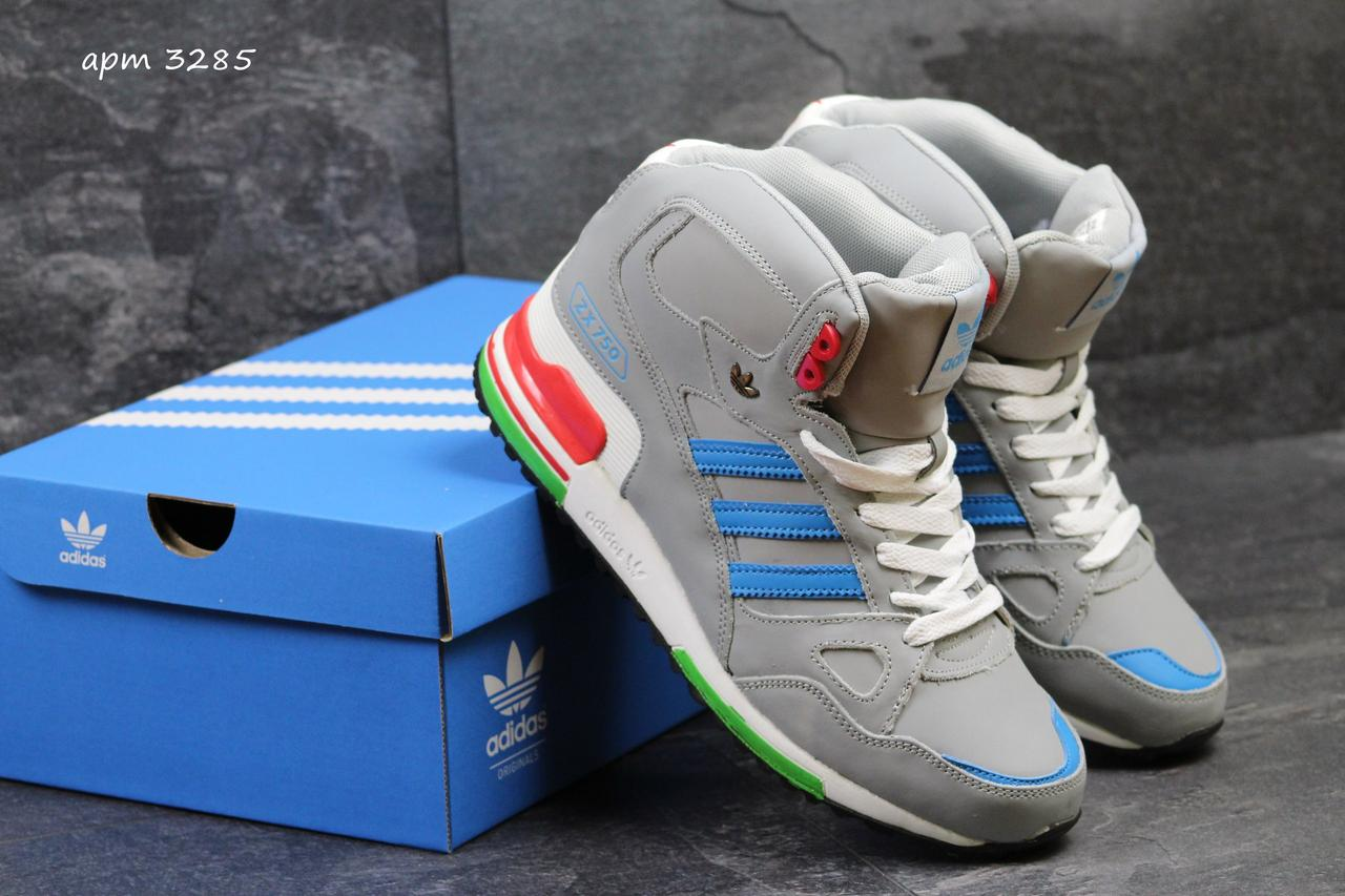138d9fd7 Мужские зимние высокие кроссовки Adidas ZX 750 серые (Реплика ААА+) - bonny-