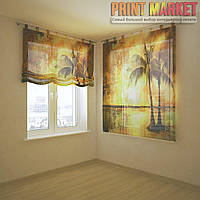 Шторы с фотопечатью пальмы и солнце