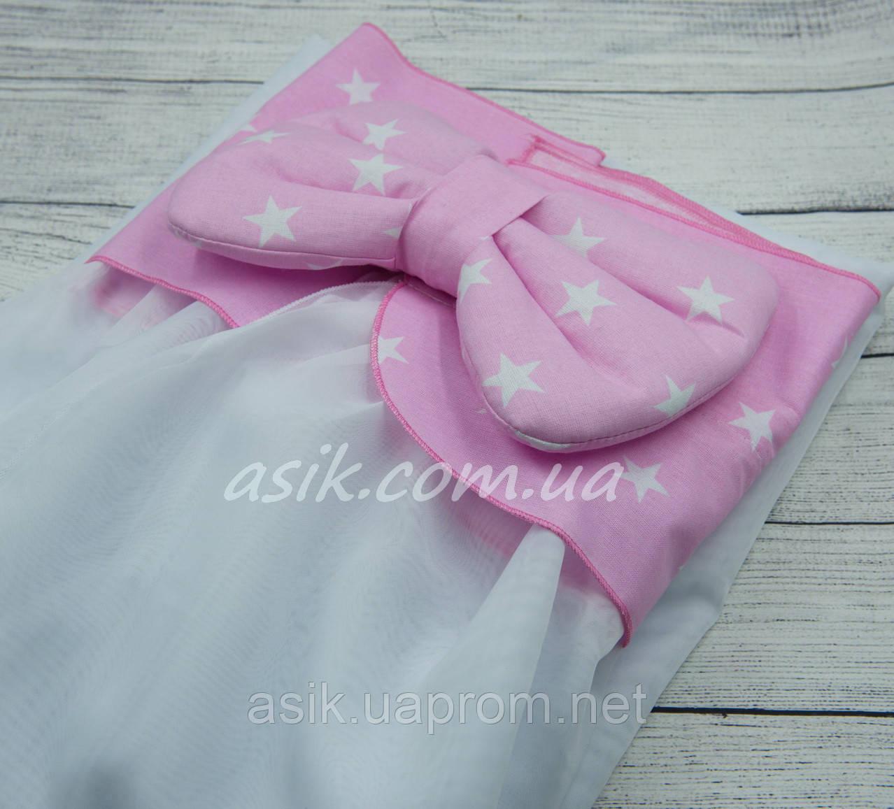 Балдахин в кроватку с оборкой розового цвета в звезды