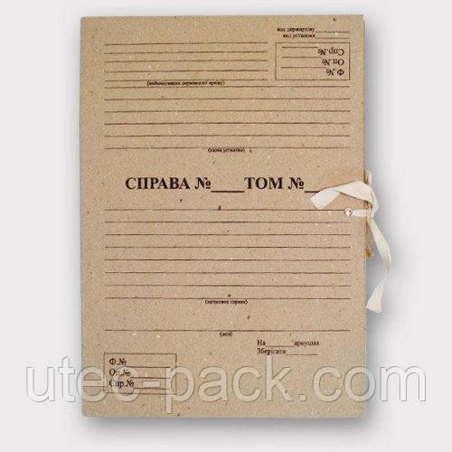 Комплект 10 шт. архівних папок А4 із зав'язками з титульною сторінкою корінець 20 мм 230*320 мм беж ПАЗТ-20-10