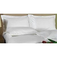 Ткань для постельного бель страйп-сатин белый 1х1 см.