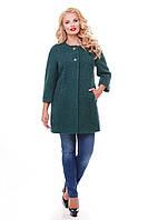 Пальто больших размеров 2000 зеленое