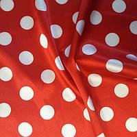 Стрейч Атлас горох красно-белый (19-20мм) ткань.