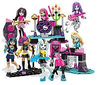 Конструктор Мега Блокс набор 8 кукол Монстр Хай с мебелью Mega Bloks Monster High Glam Ghoul Band