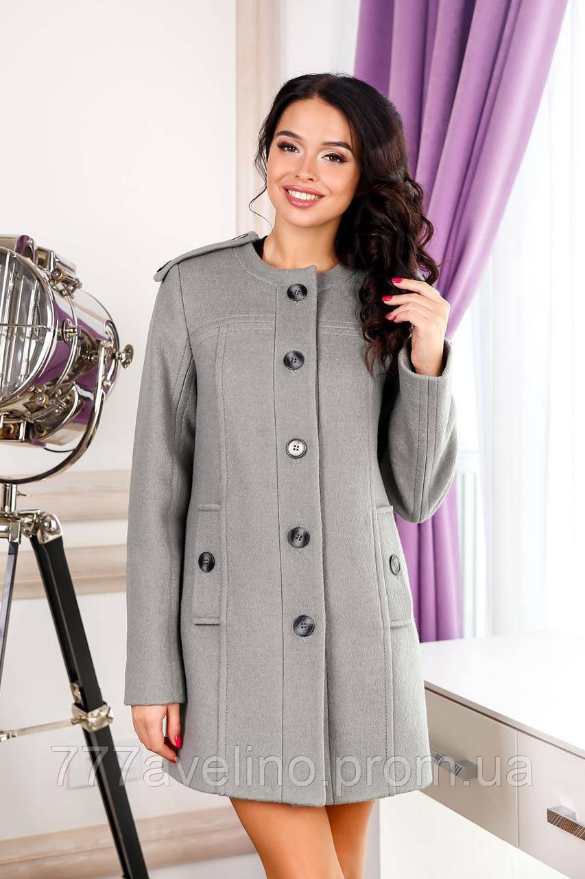 Пальто женское короткое модное серое