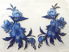"""Аплікація вишивка клейова парна """"Квіти"""" сині, 12-13 см 1пара"""