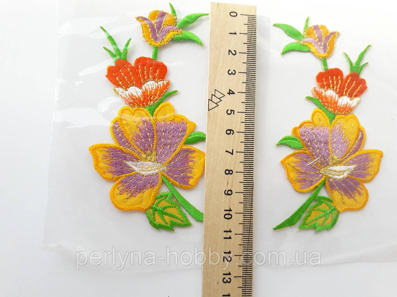 """Аплікація вишивка клейова парна """"Квіти"""" кольорові, 11 см 1пара"""