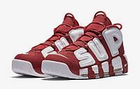Мужские кроссовки Nike Air More Uptempo Supreme Red/White Реплика, фото 1