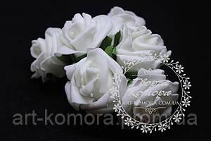 Розы закрученные латексные белые, 5 см, в наборе 6 цветов