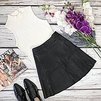 Шикарная мини-юбка фасона «трапеция» из матовой эко-кожи  KI4083