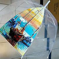 Прозрачный женский зонт трость грибком, фото 1