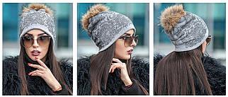 Зимняя шапка с помпоном и узором из капелек