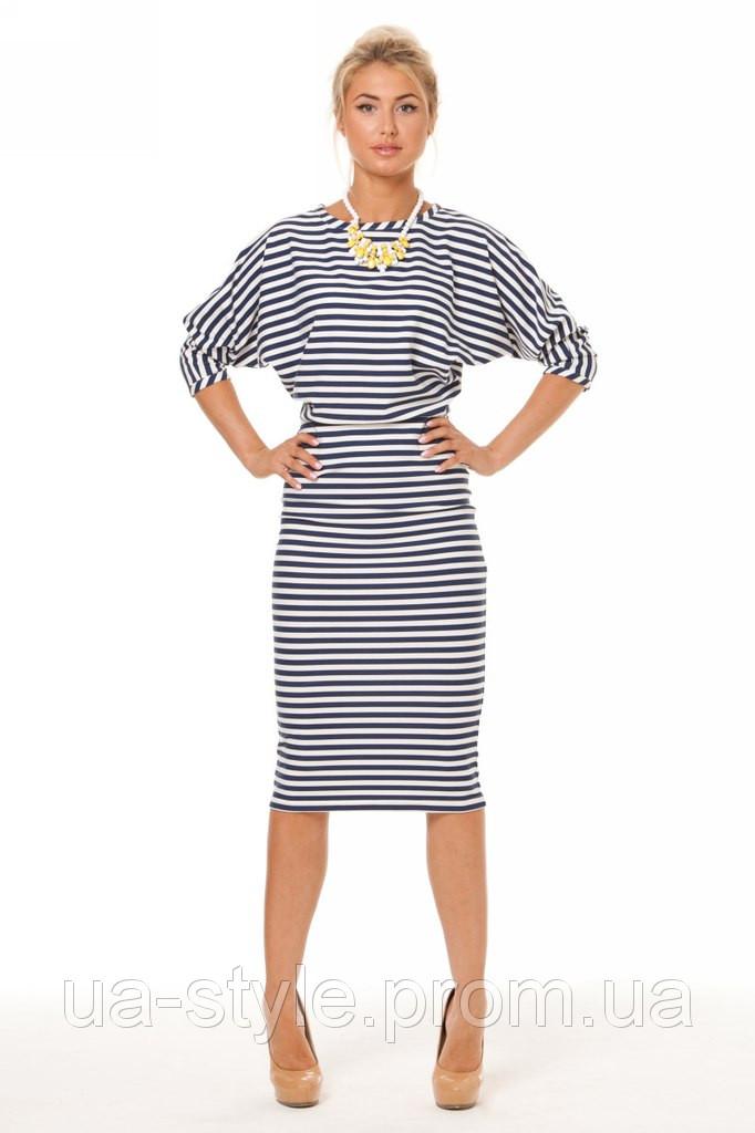 b8d7bb17a4c Платье миди в полоску из трикотажа - Интернет-магазин одежды и обуви от  производителя