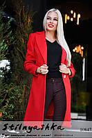 Кашемировое пальто на одной пуговице красное