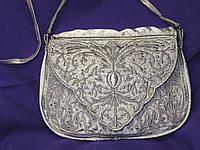 Клатч серебряный, ажурный/Сумочка серебряная, кружевная с вышивкой.Серебро. Ручная работа.
