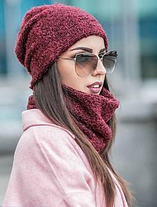 Зимняя шапка + хомут из материала букле
