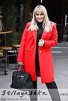 Кашемировое пальто большого размера на одной пуговице красное