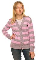 """Теплая вязанная кофта """"Вивьен"""" для девочки-подростка, цвет бежево-розовый"""