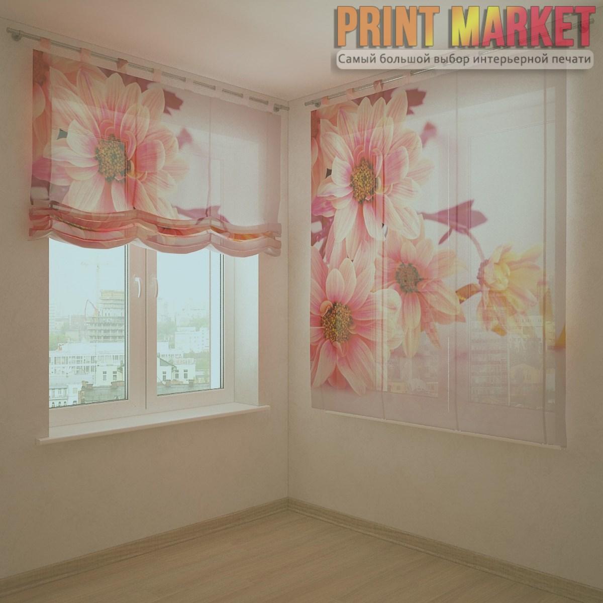 Шторы с фотопечатью розовые воздушные цветы