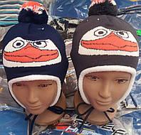Детские шапочки Пингвин для мальчиков 2-3 года на флисе V227