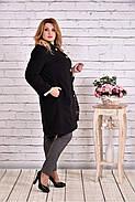 Женский демисезонное пальто T0614 / размер 42-74 / цвет черный большие размеры, фото 3