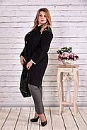 Женский демисезонное пальто T0614 / размер 42-74 / цвет черный большие размеры, фото 4
