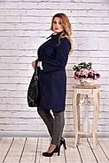 Женский демисезонное кашемировое пальто T0614 / размер 42-74 / цвет синий большие размеры, фото 3