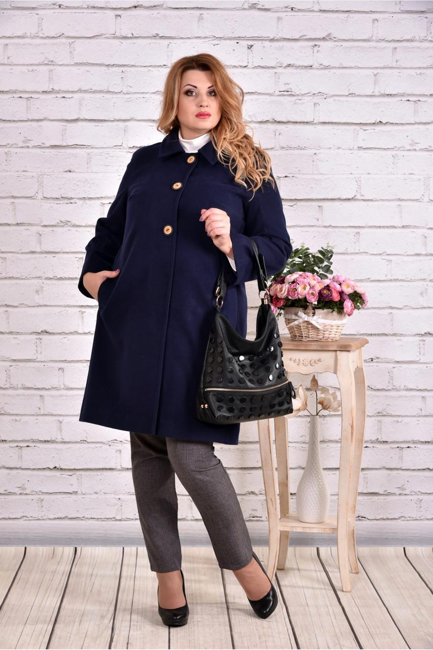 Женский демисезонное кашемировое пальто T0614 / размер 42-74 / цвет синий большие размеры
