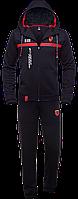 Мужской спортивный костюм черный брюки толстовка