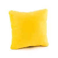 Подушка декоративная квадратная, желтый флок_под нанесение, фото 1