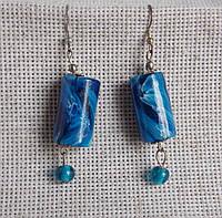 Серьги керамические синего цвета