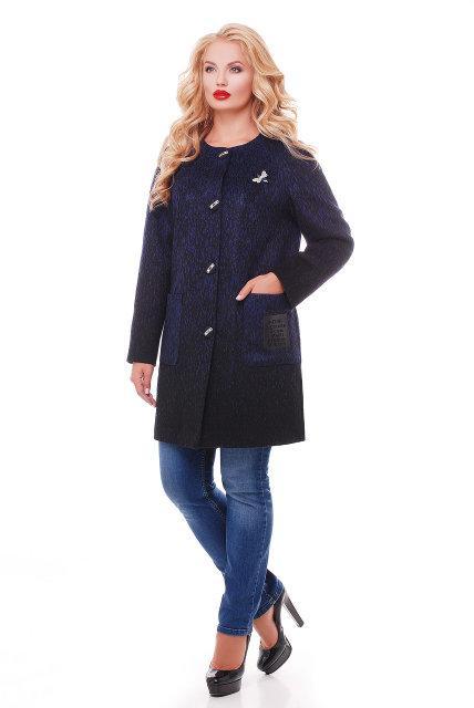 Женское кашемировое пальто на осень / размер 54 / цвет сапфир баталл