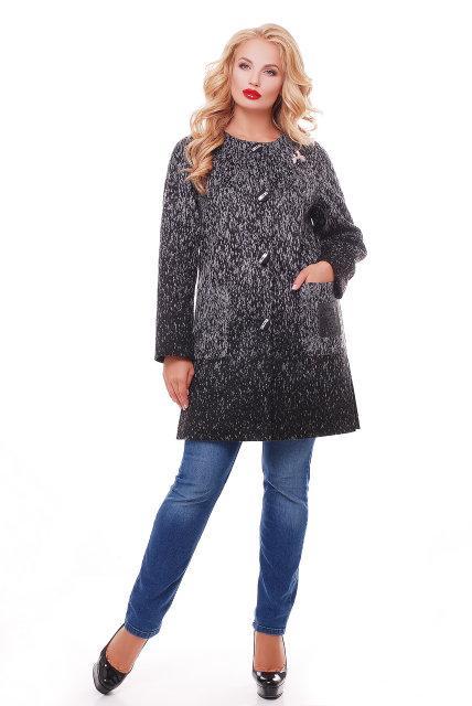 Женское кашемировое пальто на осень / размер 50,52 / цвет графит баталл
