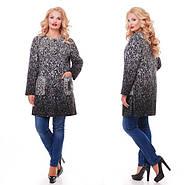 Женское кашемировое пальто на осень / размер 52,54 / цвет черно-белый баталл , фото 4