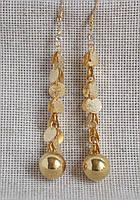 Серьги длинные под золото с камнем