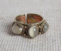 """Кольцо """"3 камня"""" с селенитом. Кольцо с лунным камнем"""