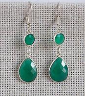 Серьги с зелёным ониксом. Серьги с натуральными камнями