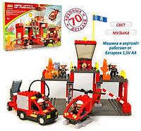 Конструктор Jixin с крупными блоками «Пожарная станция» 70 деталей