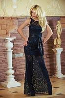 Платье женское нарядное гипюровое черное 2785