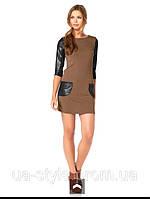 Платье коричневое трикотажное с искусственной кожей