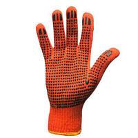 Перчатка рабочая хб Оранжевая с ПВХ плотная