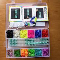 Набор разноцветных резиночек для плетения, крючок, станок, аксессуары