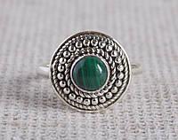 Серебряное кольцо с малахитом 17,5 размера. Кольца с полудрагоценными камнями