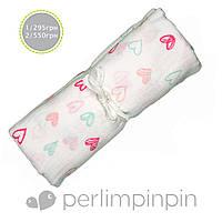 Муслиновая пеленка - плед,PerlimPinPin арт.  MS35 сердечки