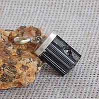 Серебряный кулон с чёрным турмалином №97. Кулон с шерлом