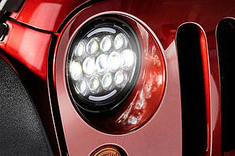 Передние LED фары тюнинг оптика Jeep Wrangler JK
