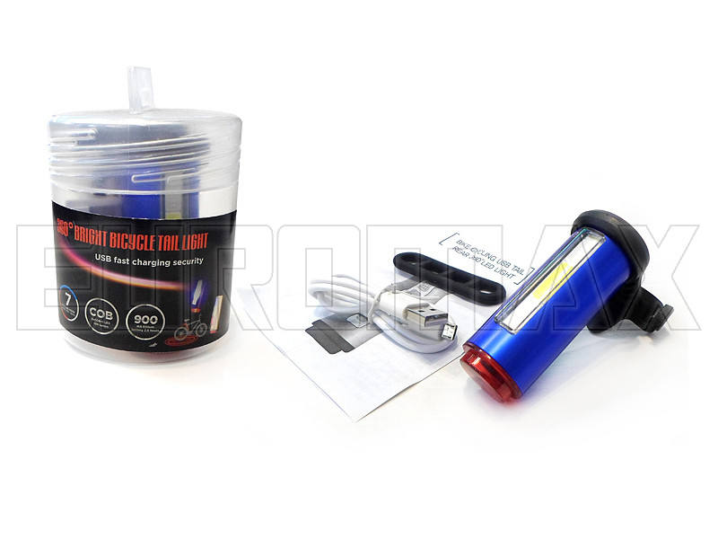 Фонарь велосипедный USB красный/белый/синий C18-29