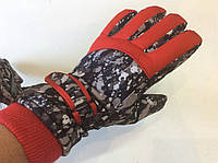 Перчатки горнолыжные женские   р.М (7) (черно/красные)