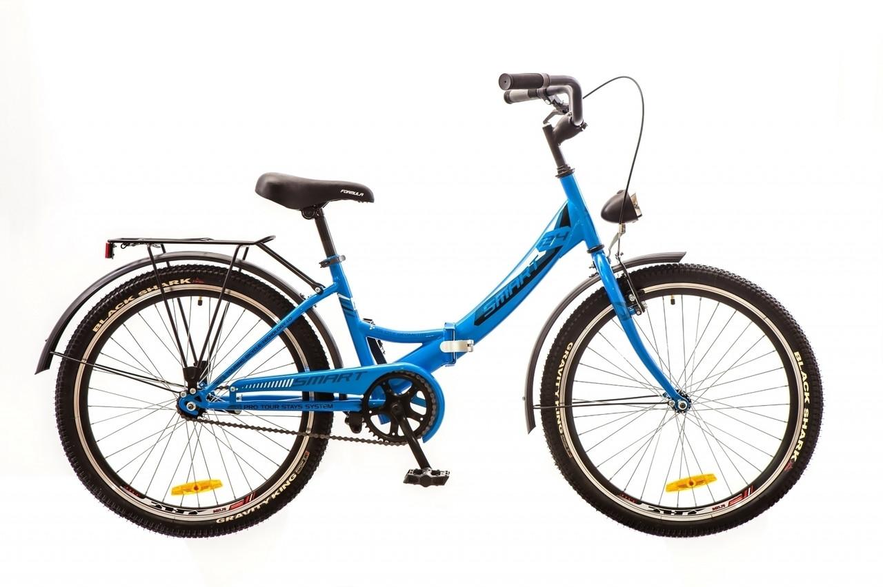 """Городской складной велосипед FORMULA SMART 24"""", 15""""  Голубой"""